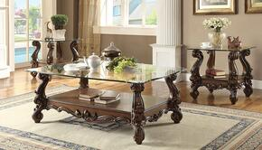 Versailles Collection 82080EC 3 PC Living Room Table Set with Coffee Table + 2 End Tables in Cherry Oak Finish