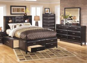 Kira 4-Piece Bedroom Set with Queen Size Storage Bed, Dresser, Mirror and Chest in Black