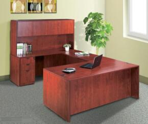 KIT1N101MOC Desk Shell Complete with Bridge, Credenza, Hutch, and Pedestal Box File in Mocha Finish