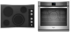 """2-Piece Kitchen Package with G7CE3034XS 30"""" Electric Cooktop and WOS92EC0AS 30"""" Electric Single Wall Oven in Stainless Steel"""