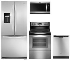 "4-Piece Kitchen Package with WRF560SEYM 30"" French Door Refrigerator, WFE515S0ES 30"" Electric Freestanding Range, WMH31017HS 30"" Over the Range Microwave Oven and WDF540PADM 24"" Built In Dishwasher in Stainless Steel"