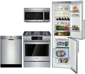 "4-Piece Stainless Steel Kitchen Package with B11CB50SSS 24"" Bottom Freezer Refrigerator, HGI8054UC 30"" Slide In Gas Range, SHE3AR75UC 24"" Built In Dishwasher and HMV3053U 30"" over the Range Microwave Oven"