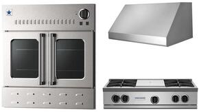 "3-Piece Kicthen Package with RGTNB364FTV2NG 36"" Gas Cooktop, BSPL36240 36"" Wall Mount Range Hood and BWO36AGSNG 36"" Gas Single Wall Oven in Stainless Steel"