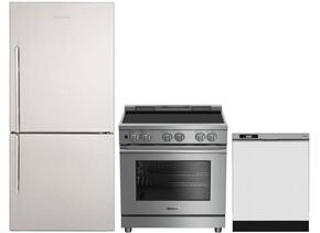 "3-Piece Kitchen Package with BRFB1812SSN 30"" Bottom Freezer Refrigerator, BDFP34550SS 30"" Slide-in Electric Range, and a free DWT25200SSWS 24"" Built In Full Console Dishwasher in Stainless Steel"