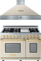 Deco 2-Piece Cream with Gold Accent Kitchen Package with RD482GCCG 48