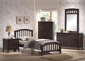 04980TDMCN San Marino Twin Size Bed + Dresser + Mirror + Chest + Nightstand in Dark Walnut