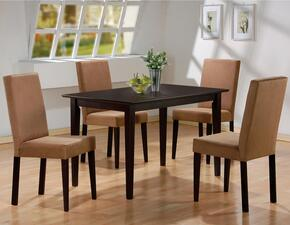 100491SET5 Mix & Match Cappuccino Finish 5 PC Dining Table Set (Table, 4 Chairs) by Coaster Co.