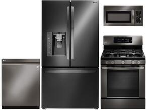 "4-Piece Kitchen Package with LFXS30766D 36"" French Door Refrigerator, LRG3061BD 30"" Freestanding Gas Range, LMV1831BD 30"" Over the Range Microwave, and LDP6797BD 24"" Built In Fully Integrated Dishwasher in Black Stainless Steel"