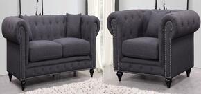 Chesterfield 662GRY-S-C 2 Piece Living Room Set with Sofa and Chair in Grey