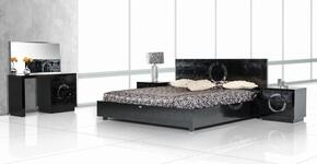 VGUNAW223-180-BLKQN A&X Ovidius Queen Size Bed + 2 Nightstands + Vanity with Mirror in Black Lacquer Crocodile Texture
