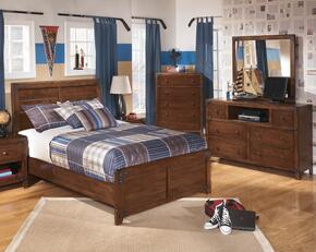 Delburne Full Bedroom Set with Panel Bed, Dresser and Mirror in Medium Brown