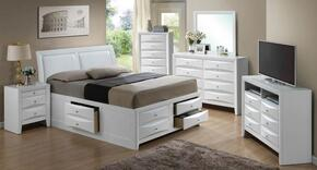 G1570IFSB4SET 6 PC Bedroom Set with Full Size Storage Bed + Dresser + Mirror + Chest + Nightstand + Media Chest in White Finish