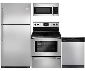 """4-Piece Stainless Steel Kitchen Package with FFTR2021QS 30"""" Top Freezer Refrigerator, FFEF3043LS 30"""" Freestanding Electric Range, FFBD2411NS 24"""" Full Console Dishwasher and FFMV164LS 30"""" Over the Range Microwave"""