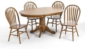 Classic Oak CO-TA-I4260247-CNT-C Dining Room Solid Oak Pedestal Table and 4 Chairs with Distressed Detailing in Chestnut Finish