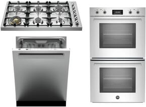 "3-Piece Stainless Steel Kitchen Package with DB36600X 36"" Gas Cooktop, PROFD30XT 30"" Electric Double Wall Oven, and DW24XV 24"" Fully Integrated Dishwasher with Master Handle"
