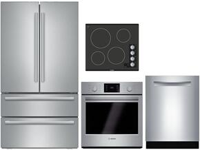 "4 Piece Stainless Steel Kitchen Package With B21CL81SNS 36"" French Door Refrigerator, NEM5466UC 24"" Gas Cooktop, HBN5451UC 27"" Single Wall Oven and SHXN8U55UC 24"" Built In Dishwasher"