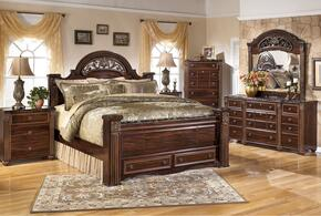 Gabriela King Bedroom Set with Poster Storage Bed, Dresser, Mirror and 3-Drawer Nightstand in Dark Reddish Brown