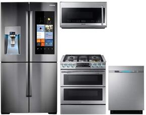 """4-Piece Stainless Steel Kictchen Package with RF22K9581SR 36"""" Family Hub Series French Door Refrigerator, NX58K9850SS 30"""" Gas Range, ME21F707MJT 30"""" Microwave Oven and DW80J7550US 24"""" Built In Dishwasher"""