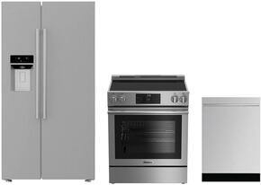"3-Piece Kitchen Package with BSBS2230SS 36"" Side by Side Refrigerator, BERU30420SS 30"" Freestanding Electric Range, and a free DW55502SS 24"" Built In Fully Integrated Dishwasher in Stainless Steel"