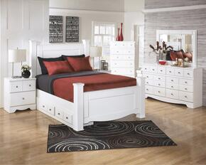 Weeki Collection B270SIG4PCKPS6DDLM2DNKIT1 4-Piece Bedroom Sets with King Poster Bed, Dresser, Mirror and Nightstand in White