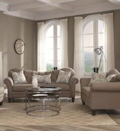 Carnahan Collection 5052512PC 2-Piece Living Room Set with  Traditional Sofa and Love Seat in Stone Grey Fabric Upholstery