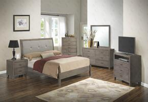 G1205ATBCHDMNTV 6 Pieces Set including Twin Bed, Chest, Dresser, Mirror, Nightstand and Media Chest in Grey