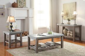Parker 81590CES 3 PC Living Room Table Set with Coffee Table + End Table + Sofa Table in Frosted Grey Finish