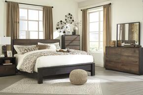 Windlore King Bedroom Set with Panel Bed, Dresser, Mirror and Single Nightstand in Dark Brown