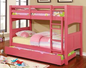 Prismo II Collection CM-BK608T-BTSET-PK 2 PC Bedroom Set with Twin Over Twin Size Bunk Bed + Trundle in Pink Finish