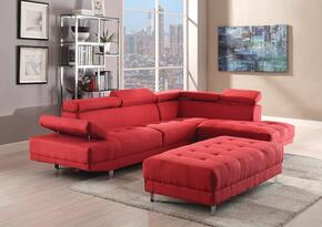 Milan Collection G440SCO 2 PC Living Room Set with Sectional Sofa + Ottoman in Red Color