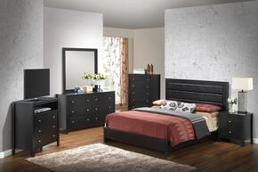 Aries Collection G2450AQBSET 6 PC Bedroom Set with Queen Size Panel Bed + Dresser + Mirror + Chest + Nightstand + Media Chest in Black Finish