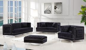 4-Piece Lucas Collection Living Room Set with Sofa, Loveseat, Arm Chair and Ottoman in Black