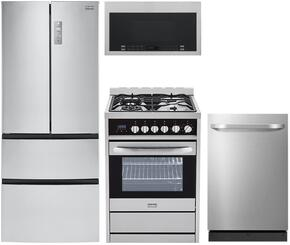 "4-Piece Stainless Steel Kitchen Package with HRF15N3AGS 28"" French Door Refrigerator, HCR2250AGS 24"" Freestanding Gas Range, HMV1472BHS 24"" Over the Range Microwave, and DWL7075MSS 24"" Fully Integrated Dishwasher"