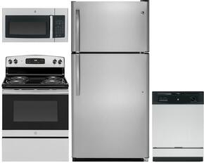 """4-Piece Kitchen Package with GTS21FSKSS 32"""" Top Freezer Door Refrigerator, JBS30RKSS 30"""" Electric Freestanding Range, JVM3160RFSS 30"""" Microwave Oven and GDF610PSJSS 24"""" Built In Dishwasher in Stainless Steel"""