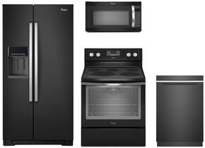 "4-Piece Black Ice Kitchen Package with WRS586FIEE 36"" Side by Side Refrigerator, WFE540H0EE 30"" Freestanding Electric Range, WMH53520CE 30"" Over the Range Microwave, and WDTA50SAHB 24"" Fully Integrated Dishwasher"