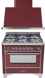 "2-Piece Burgundy Kitchen Package with UM906DMPRBX 36"" Freestanding Dual Fuel Range (Chrome Trim, 6 Burners, Timer) and UAM90RB 36"" Wall Mount Range Hood"