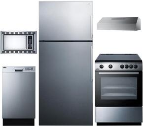 "5-Piece Stainless Steel Package with FF1511SSLHD 28"" Top Freezer Refrigerator, REX245SS 24"" Freestanding Electric Range, ULT2824SS 24"" Under Cabinet Hood, OTR24 24"" Microwave Oven, and DW18SS2 18"" Fully Integrated Dishwasher"