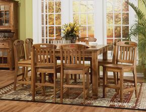 Sedona Collection 1245RODT8BS 9-Piece Dining Room Set with Family Table and 8 Barstools in Rustic Oak Finish