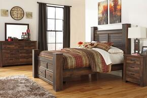 Quinden Queen Bedroom Set with Poster Storage  Bed, Dresser, Mirror and Nightstand in Dark Brown Finish