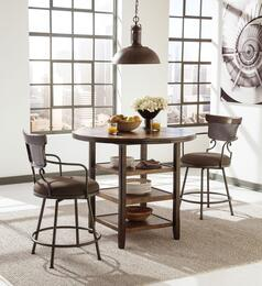 """Moriann D608-13-624 3-Piece Dining Room Set with Round Counter Dining Table and Two 24"""" High Upholstered Metal Barstools in Dark Brown Finish"""