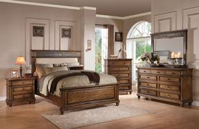 Arielle 24437EK5PC Bedroom Set with Eastern King Size Bed + Dresser + Mirror + Chest + Nightstand in Slate and Oak Finish