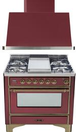 "2-Piece Burgundy Kitchen Package with UM90FDVGGRBY 36"" Freestanding Gas Range (Oiled Bronze Trim, 4 Burners, Griddle) and UAM90RB 36"" Wall Mount Range Hood"