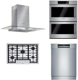 """4-Piece Stainless Steel Kitchen Package with NGMP655UC 36"""" Natural Gas Cooktop, HBLP651LUC 30"""" Double Wall Oven, HCG56651UC 36"""" Wall Mount Hood, and SHE89PW75N 24"""" Fully Integrated Dishwasher"""