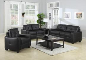 502721SET3 Jasmine Contemporary Rich Black 3 Pcs Bonded Leather Sofa Living Room Set (Sofa, Loveseat, and Chair)