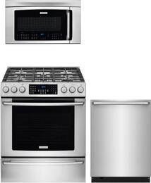 "3-Piece Stainless Steel Kitchen Package with EI30GF45QS 30"" Gas Range, EI24ID50QS 24"" Fully Integrated Dishwasher and EI30SM35QS 30"" Over-The-Range Microwave"