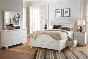 Chesapeake Collection 167383848586KTSET 5 PC Bedroom Set with Full Size Storage Bed + Dresser + Mirror + 2 Nightstands in Coastal White Finish