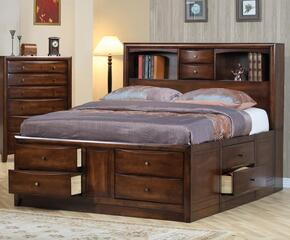Hillary Collection 200609KWSETA 2 PC Bedroom Set with California King Size Bed + Chest in Warm Brown Finish
