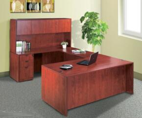 KIT1N101M Desk Shell Complete with Bridge, Credenza, Hutch and Pedestal Box in Mahogany Finish