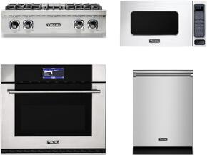 """4-Piece Stainless Steel Kitchen Package with VRT5304BSS 30"""" Gas Cooktop, MVSOE630SS 30"""" Electric Single Wall Oven, VMOS201SS 24"""" Countertop Microwave with 30"""" Trim Kit, and VDW302SS 24"""" Fully Integrated Dishwasher"""