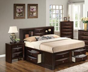 G1525GTSB3NCH 3 Piece Set including Twin Size Bed, Nightstand and Chest  in Cappuccino